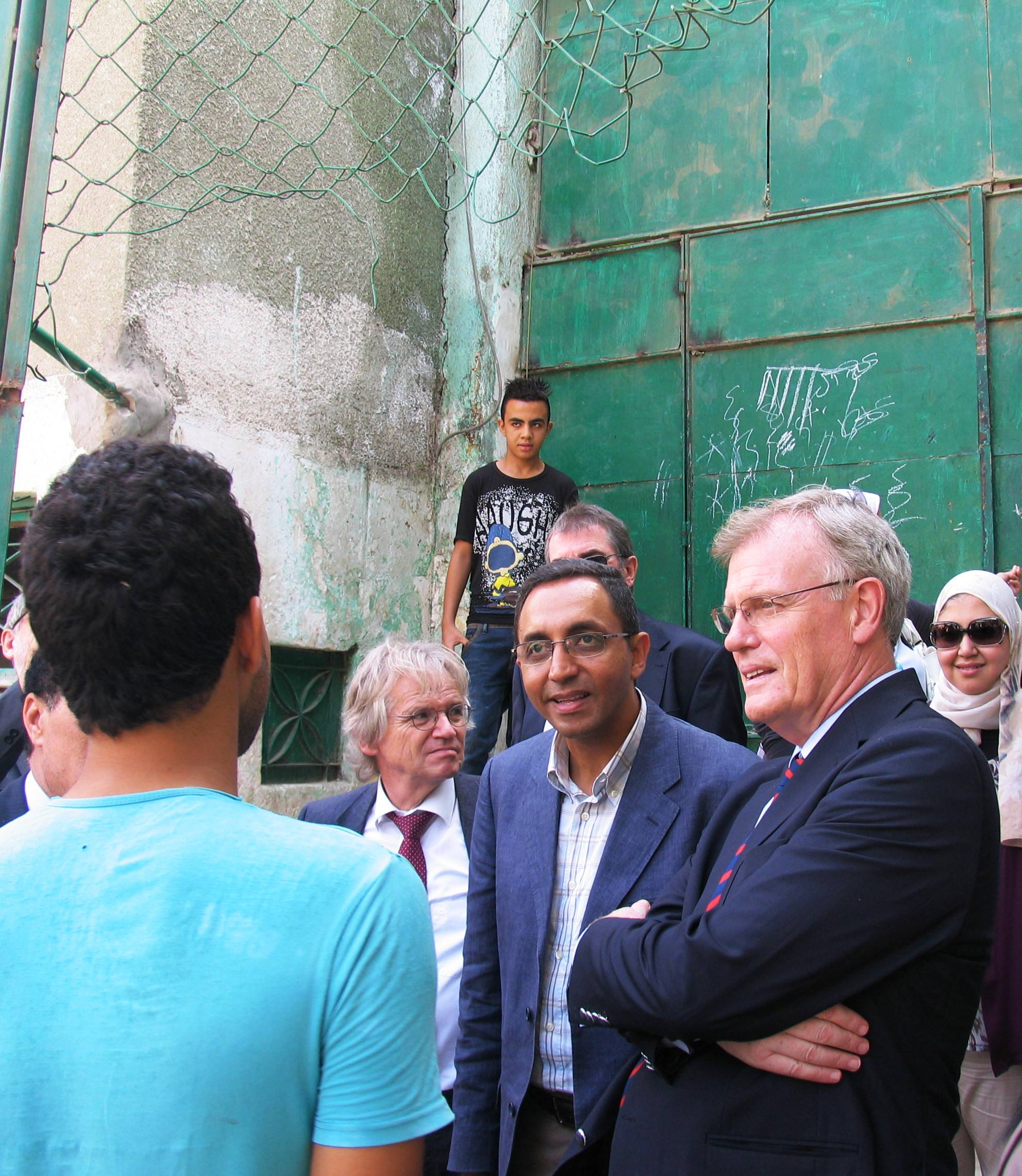 The EU Ambassador James Moran inside Geziret El-Dahab youth centre