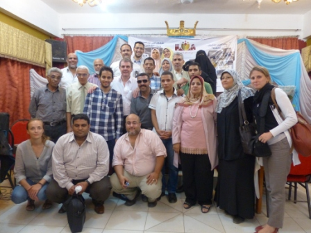 The photo presents the selected members of LADC in Geziret El Dahab area with PDP staff and UUU Staff. Elected members were excited after the community gave their voices for them to be the better represented in society.
